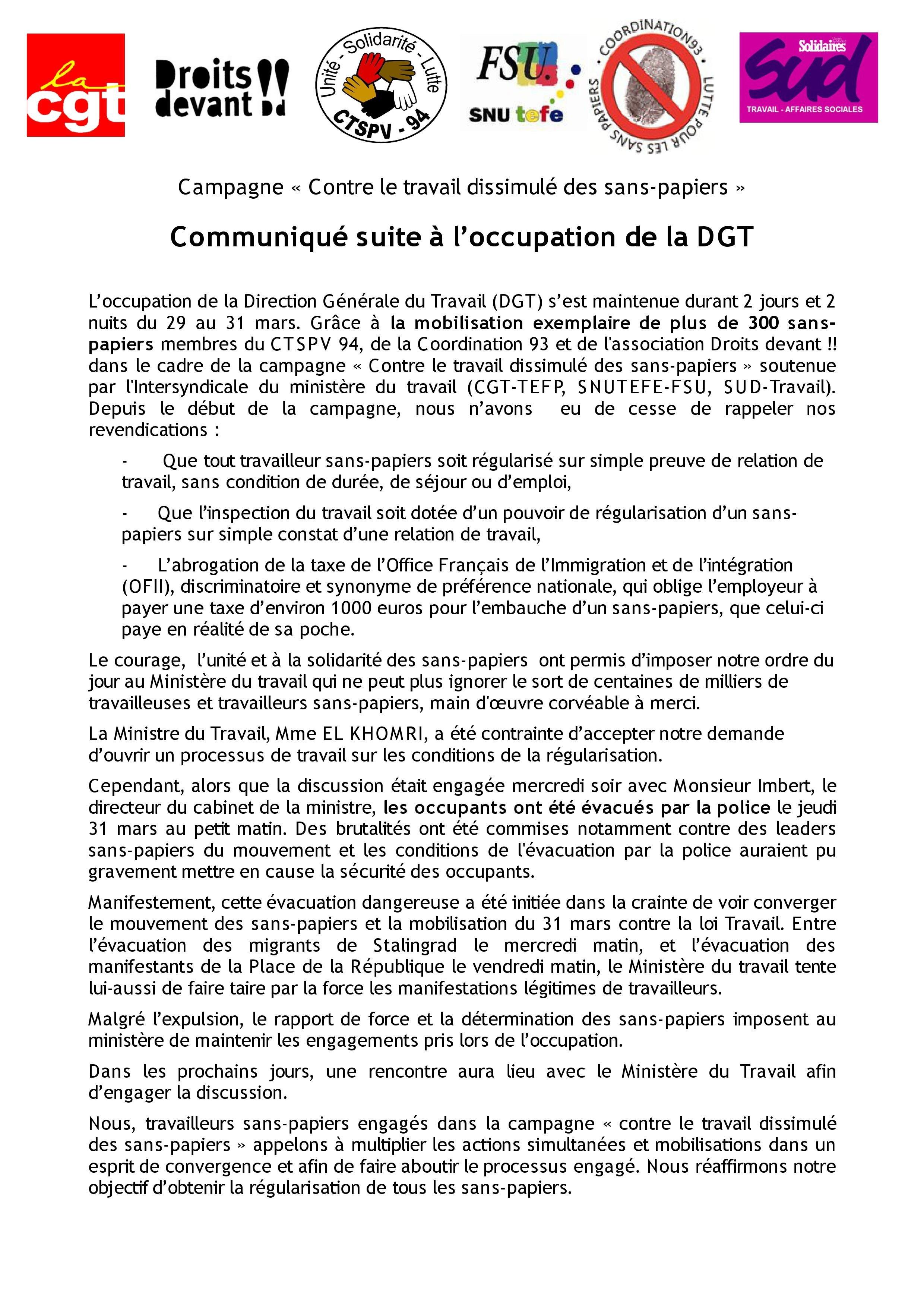 Communiqué occupation DGT